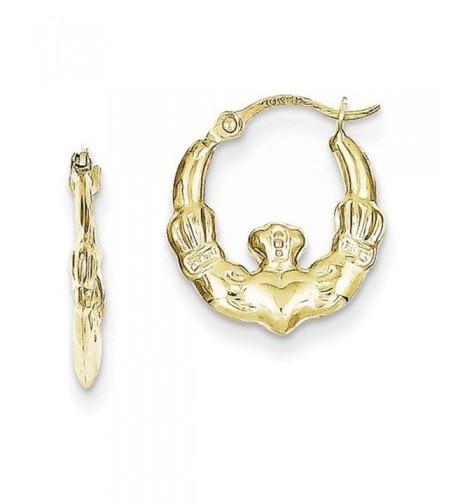 10K Claddagh Hollow Hoop Earrings