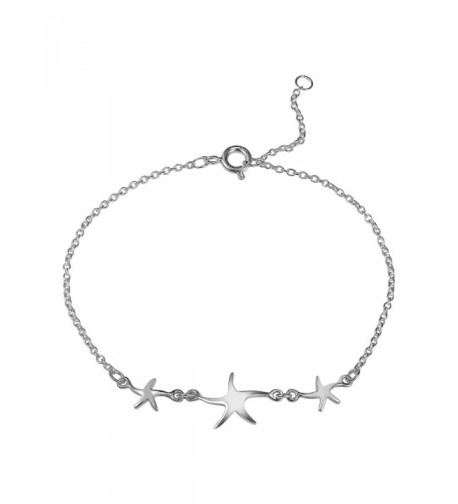 Three Starfish Sterling Silver Bracelet
