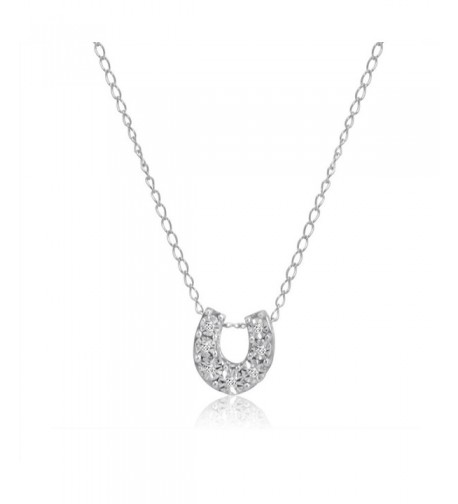 Horseshoe Diamond Pendant Necklace Sterling Silver