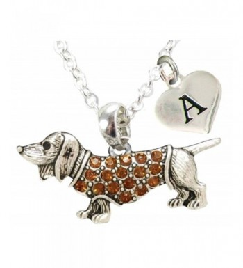 Dachshund Necklace Jewelry Initial letters
