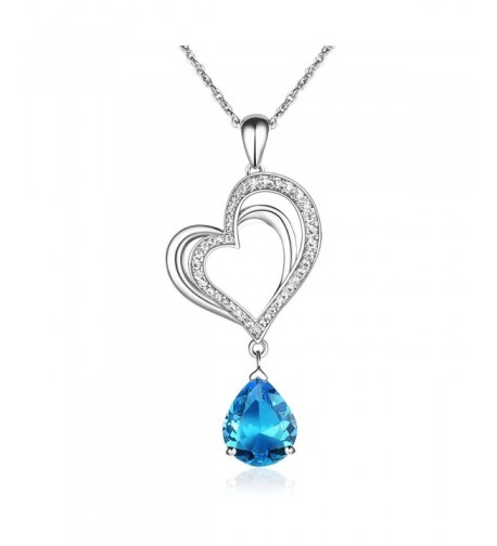 Pendant Necklace Aquamarine Crystal Birthstone