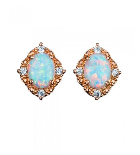 Created white Opal Earrings Women