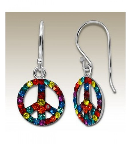 Crystal Silver Earrings Multicolour Crystals