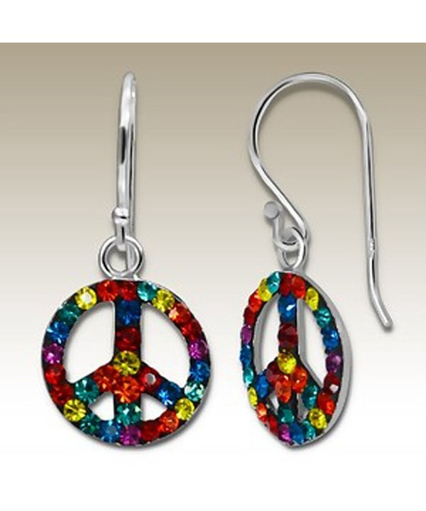 Crystal Silver Earrings Multicolour Crystals