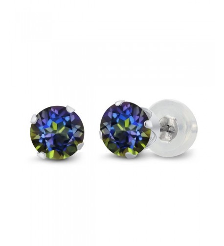 Round Mystic Topaz 4 prong Earrings