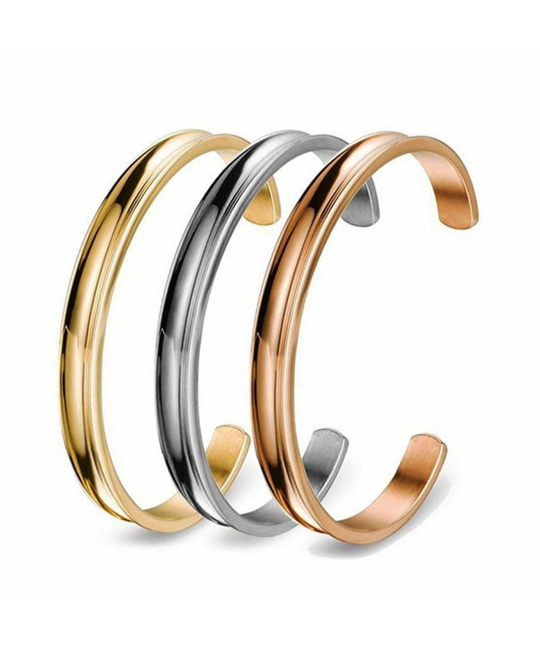 COMISAN Stainless Bracelet Jewelry Grooved