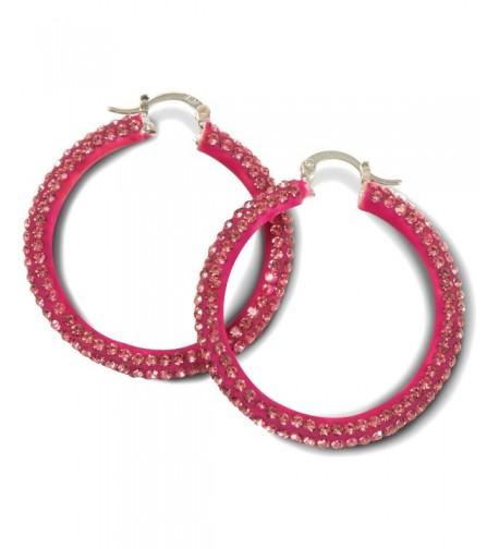 Hot Pink Crystal Hoop Earrings