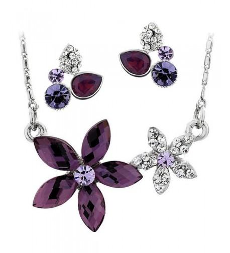 Neoglory Platinum Necklace Earrings Bridesmaid
