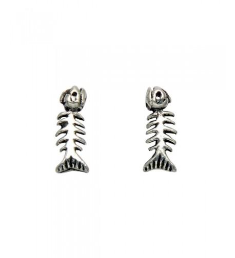 Tiny Sterling Silver Skeleton Earrings