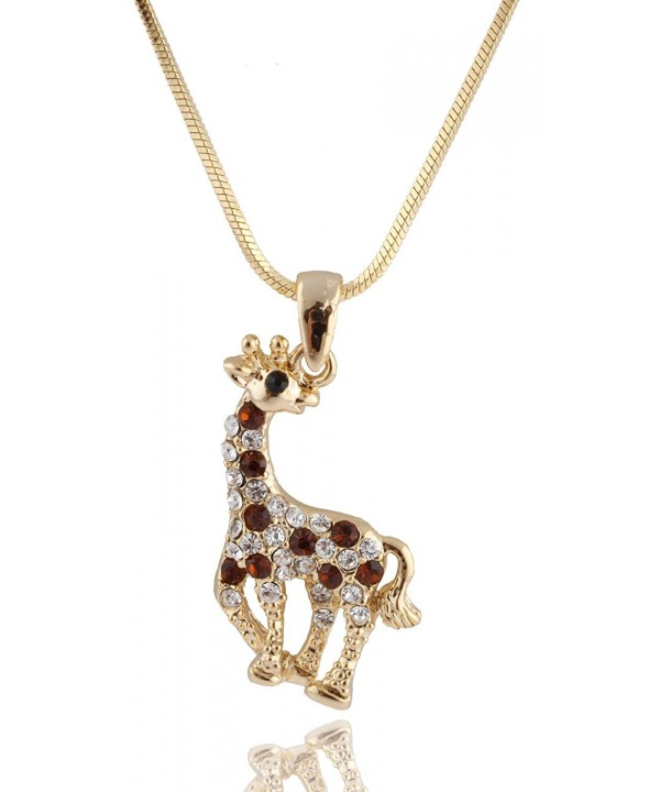 Goldtone Giraffe Pendant Necklace B 343