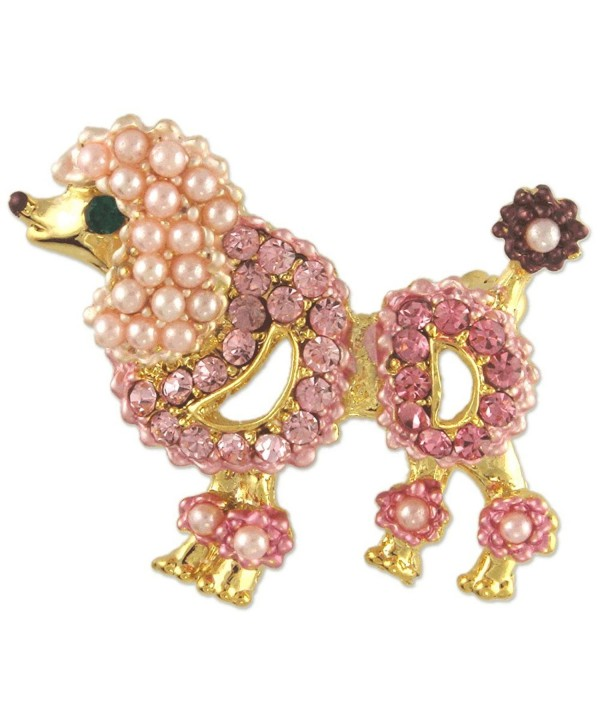 CRYSTAL BLACK GOLD POODLE DOG BROOCH PIN MADE WITH SWAROVSKI ELEMENTS