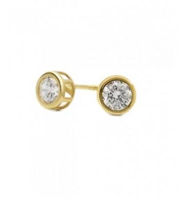 Yellow Round Zirconia Safetyback Earrings