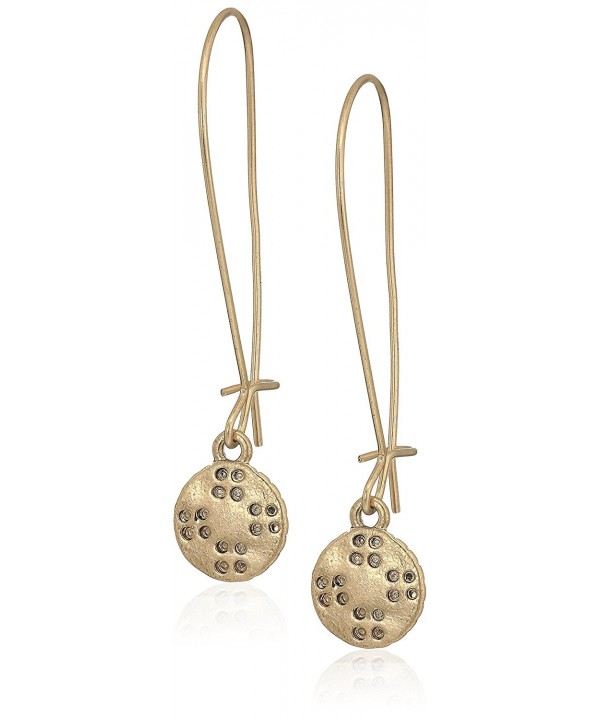 Elongated Etched Gold Drop Earrings