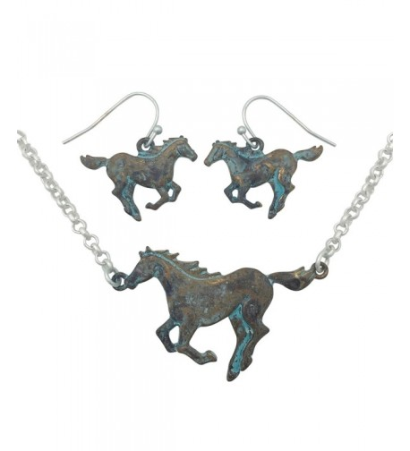 Running Western Necklace Earring Patina