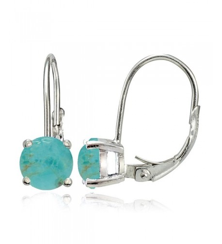 Sterling Simulated Turquoise Leverback Earrings