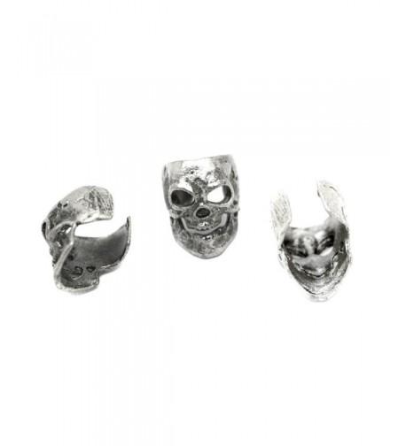 Antiqued Silver Skull Cuffs Pair