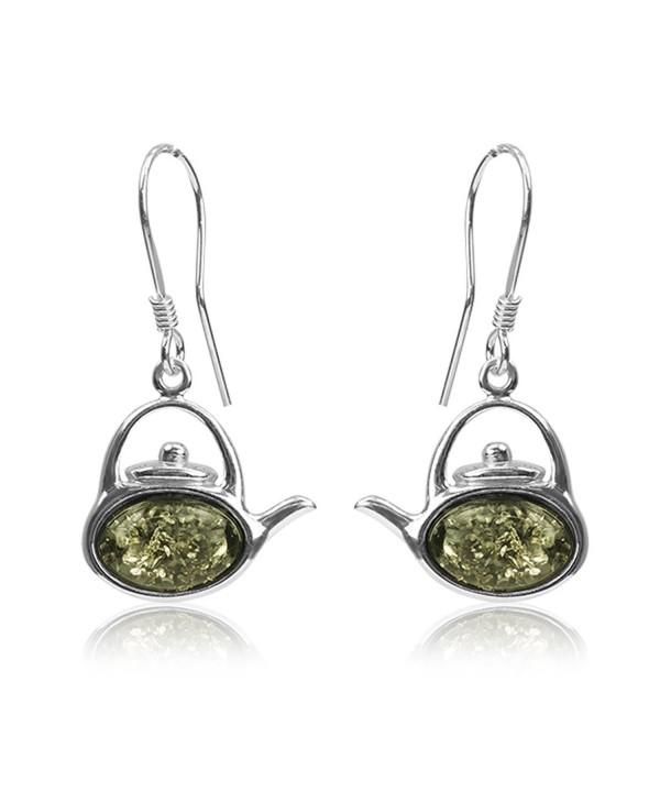 Sterling Silver Amber Kettle Earrings