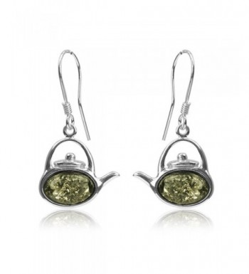 Sterling Silver Amber Kettle Earrings