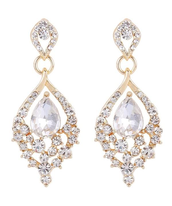 1d2ebb38c ... Women's Gold-tone Austrian Crystal Teardrop Dangle Chandelier Sparking Earrings  Clear CM12BTVMDFP. EleQueen Gold tone Austrian Teardrop Chandelier