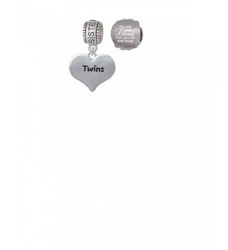 Twins Heart Sister Charm Loved