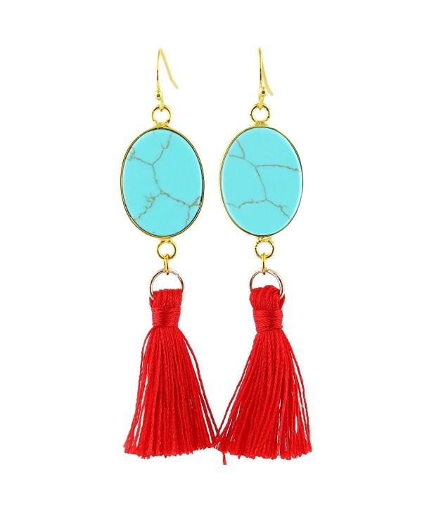 SUNYIK Howlite Turquoise Tassel Earrings