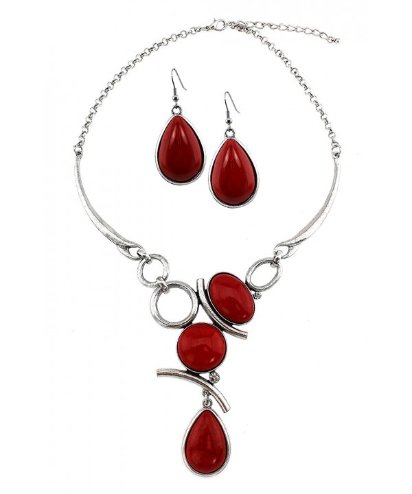 Stone Cabochon Necklace Matching Earrings