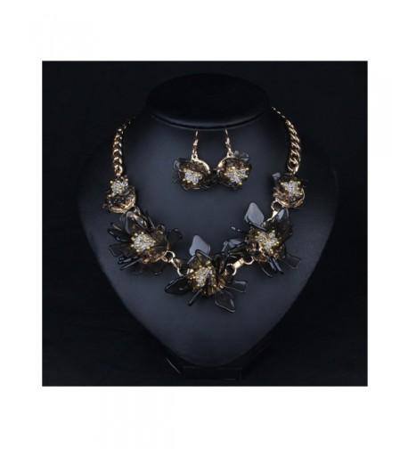 Hamer Flowers Statement Necklace Earrings