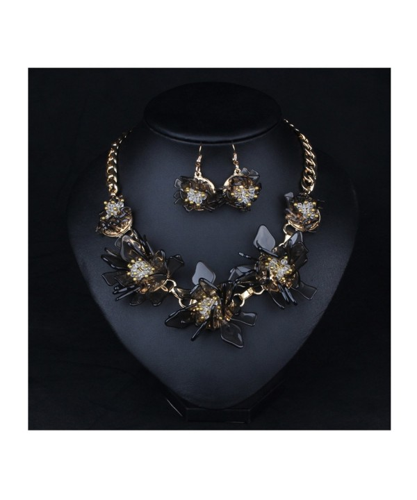 Women S Black Resin Flowers Luxury Statement Necklace And Earrings