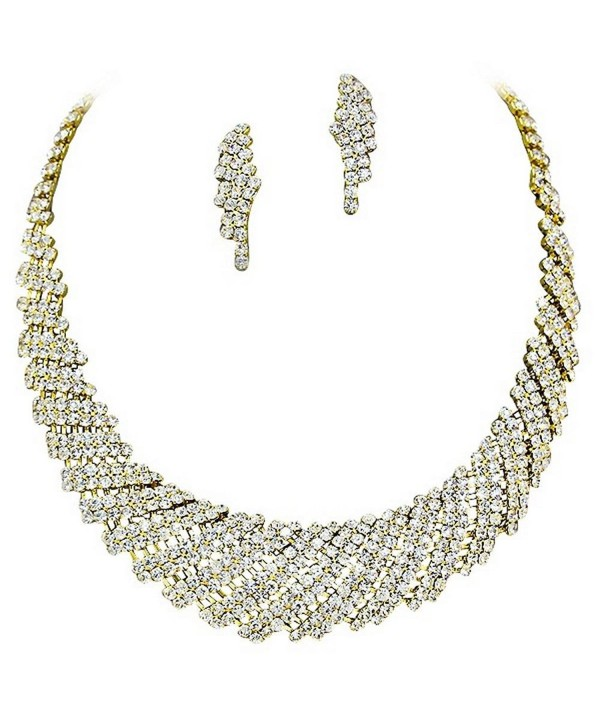 Gold Retro Vintage Sparkly Rhinestone Bridal Party Necklace Earring ... 9badb43975b1