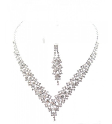 Crystal Bridesmaid Evening Necklace Earring