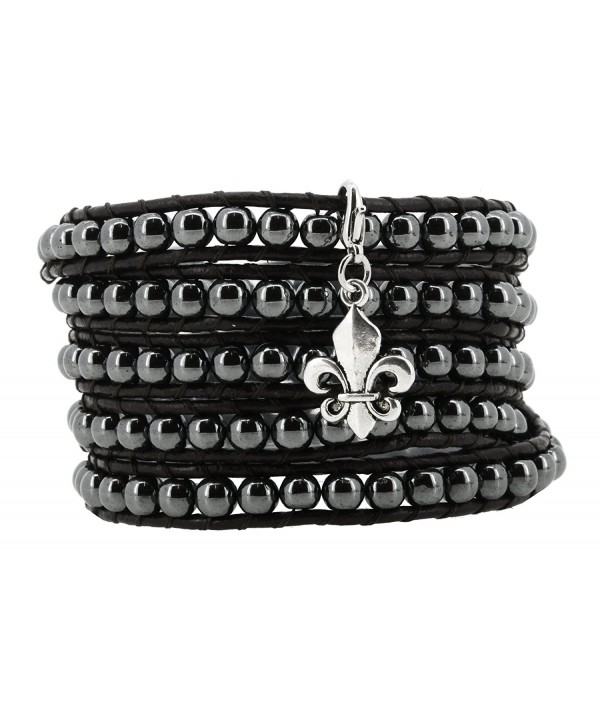 Leather Simulated Hematite Bracelet Removable