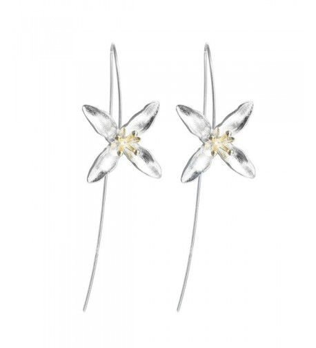 Flower Golden Threader Earrings Sterling