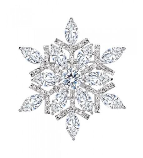 EVER FAITH Marquise Snowflake Silver Tone