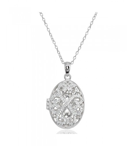 Sterling Polished Diamond Cut Filigree Necklace