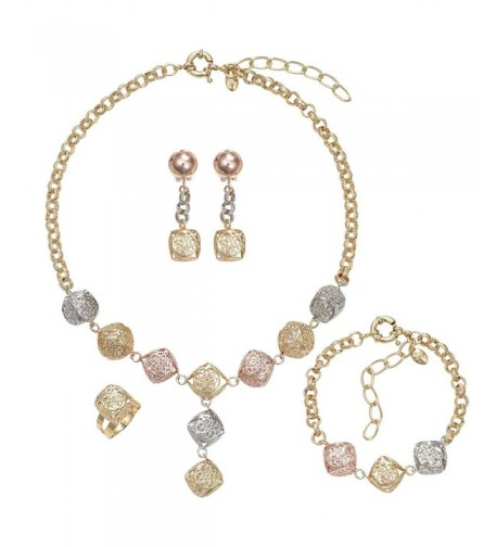 MOOCHI 3 Tones Crystal Pendant Necklace
