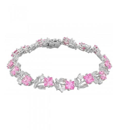 Sterling Silver Flower Tennis Bracelet