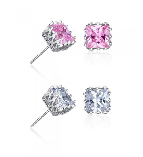 Plated Princess Square Zirconia Earrings