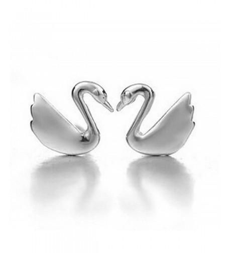 Sterling Silver swan Stud Earrings