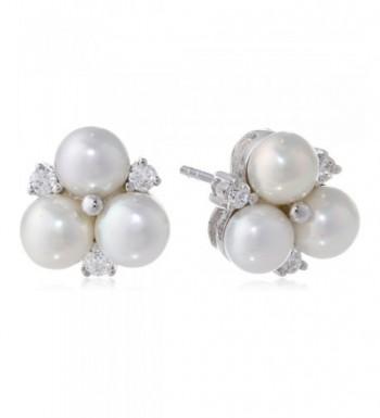 Bella Pearl White Cluster Earrings
