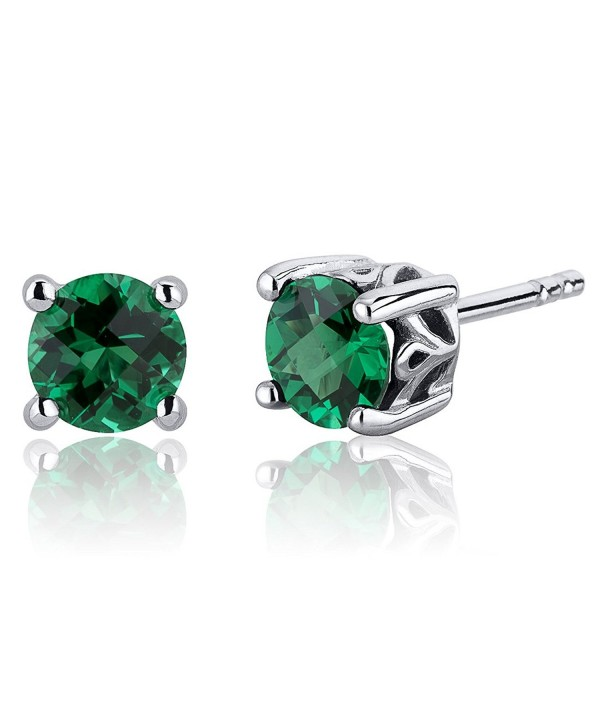 Carats Simulated Emerald Earrings Sterling