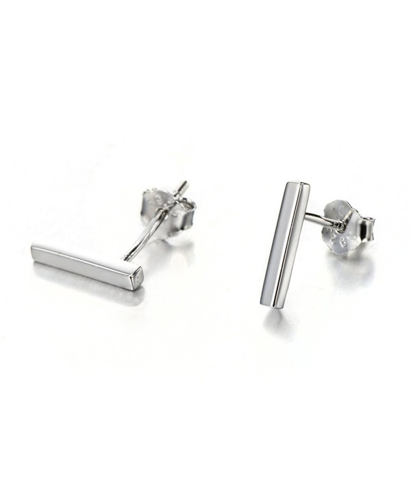Sterling Silver Minimalist Earrings rhodium flashed silver