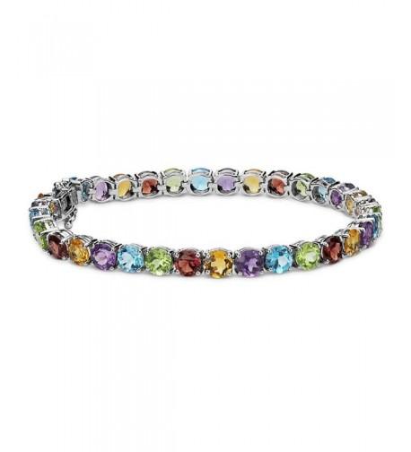 Plated Gemstone Round Cut Tennis Bracelet