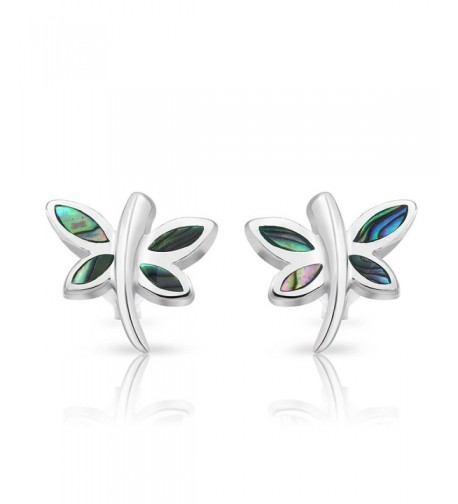 Sterling Silver Abalone Dragonfly Earrings