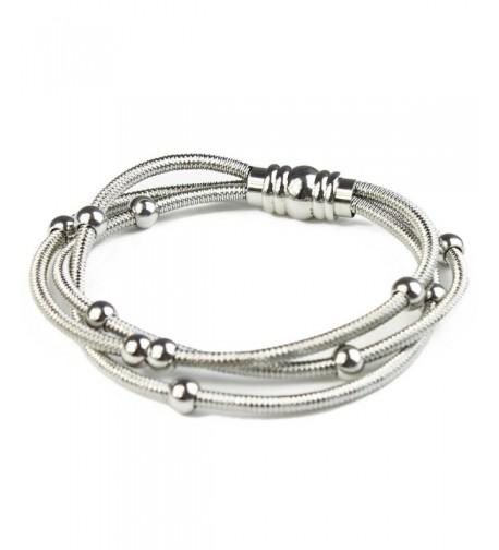 BAYUEBA Bracelet Stainless Multi line Platinum