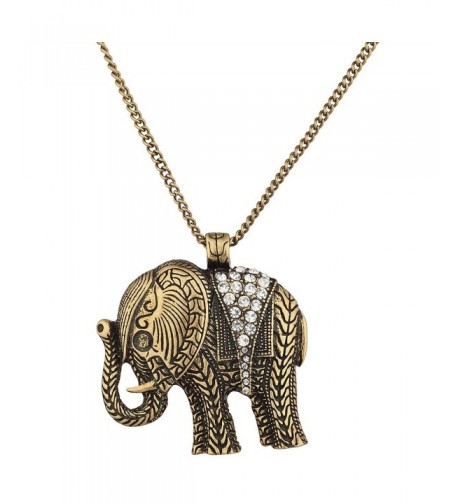 Lux Accessories Goldtone Elephant Necklace