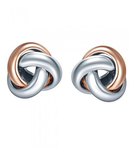 SILVERAGE Two Tone Love Knot Earrings