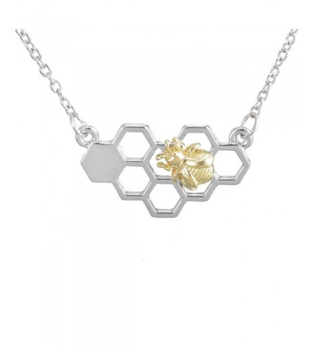 MJARTORIA Silver Honeycomb Pendant Necklace