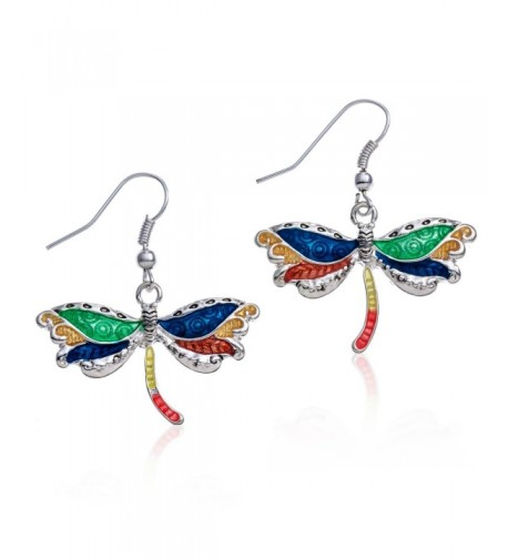 PammyJ Silvertone Multi Dragonfly Earrings