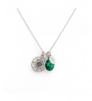 Charm Grace Compass Necklace Silver