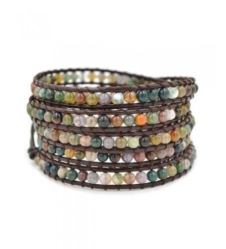 Multi layer Braided Leather Bracelet Multi color